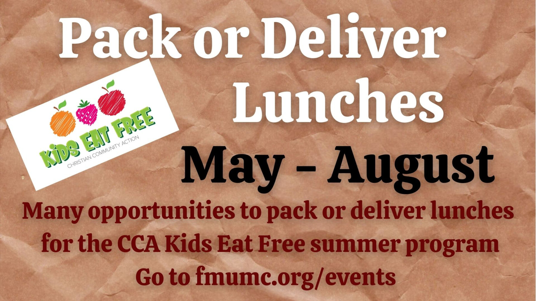 CCA Kids Eat Free Lunch Bag Assembly